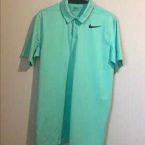 Men's Nike Golf Dri-Fit green striped polo shirt
